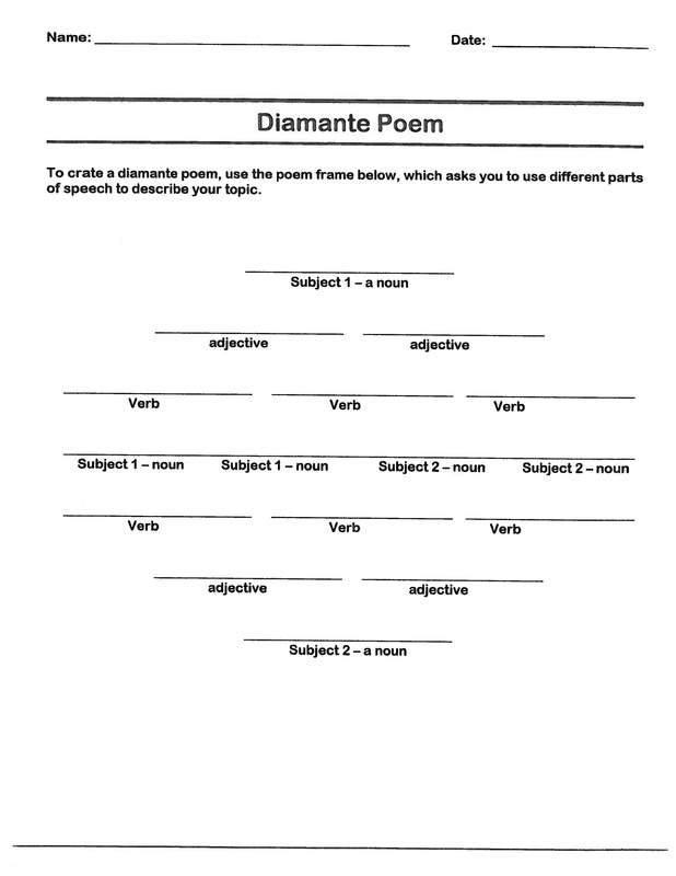 math worksheet : diamante poem  b r e a k  : Poems To Teach 5th Graders